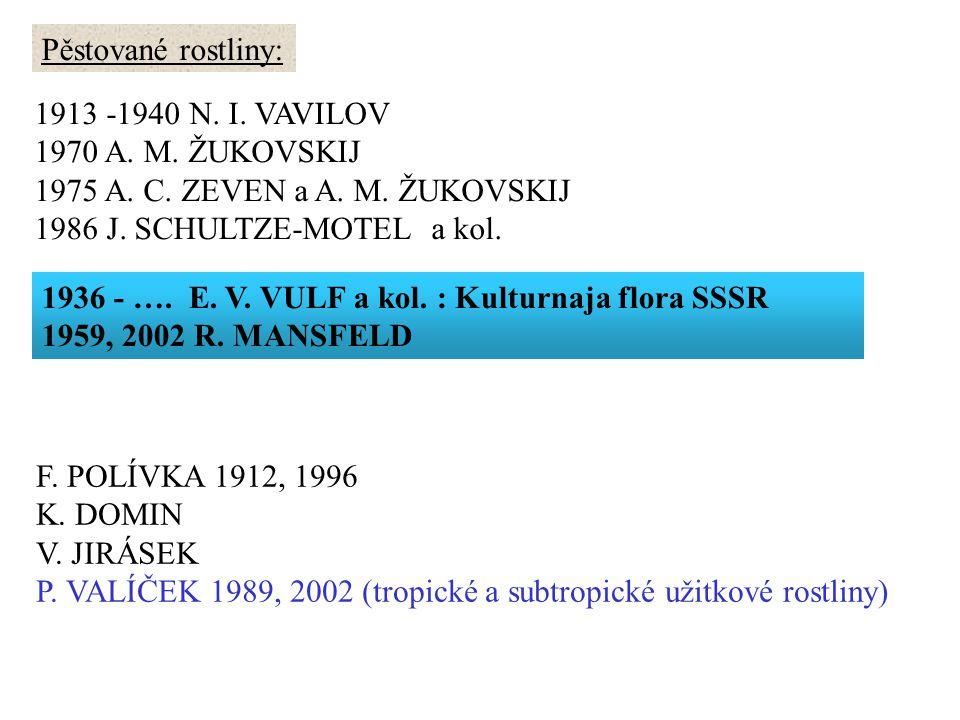 Pěstované rostliny: 1913 -1940 N. I. VAVILOV 1970 A. M. ŽUKOVSKIJ 1975 A. C. ZEVEN a A. M. ŽUKOVSKIJ 1986 J. SCHULTZE-MOTEL a kol. 1936 - …. E. V. VUL