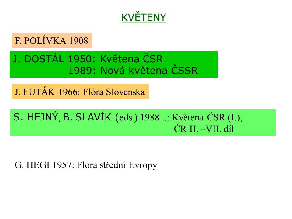 KVĚTENY F. POLÍVKA 1908 J. DOSTÁL 1950: Květena ČSR 1989: Nová květena ČSSR J. FUTÁK 1966: Flóra Slovenska S. HEJNÝ, B. SLAVÍK ( eds.) 1988..: Květena