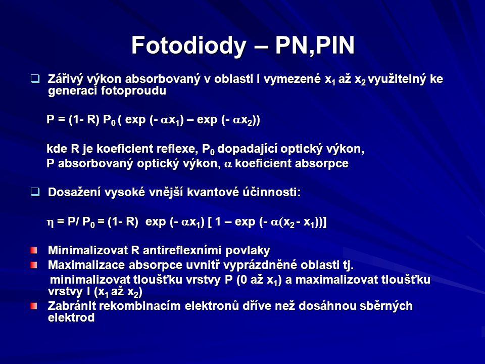 Fotodiody – PN,PIN  Zářivý výkon absorbovaný v oblasti I vymezené x 1 až x 2 využitelný ke generaci fotoproudu P = (1- R) P 0 ( exp (-  x 1 ) – exp