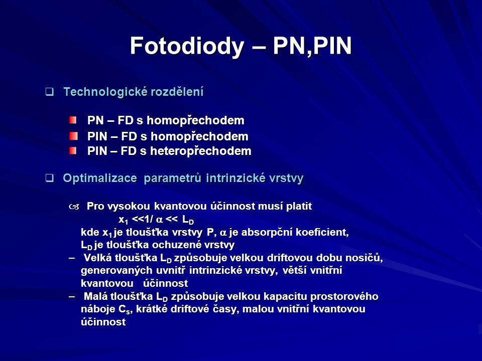 Fotodiody – PN,PIN  Technologické rozdělení PN – FD s homopřechodem PN – FD s homopřechodem PIN – FD s homopřechodem PIN – FD s homopřechodem PIN – F