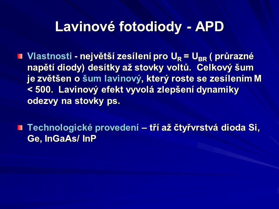 Lavinové fotodiody - APD Vlastnosti - největší zesílení pro U R = U BR ( průrazné napětí diody) desítky až stovky voltů. Celkový šum je zvětšen o šum