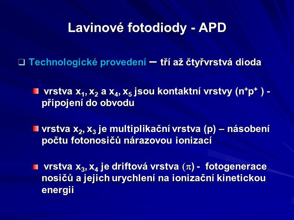 Lavinové fotodiody - APD  Technologické provedení – tří až čtyřvrstvá dioda vrstva x 1, x 2 a x 4, x 5 jsou kontaktní vrstvy (n + p + ) - připojení d