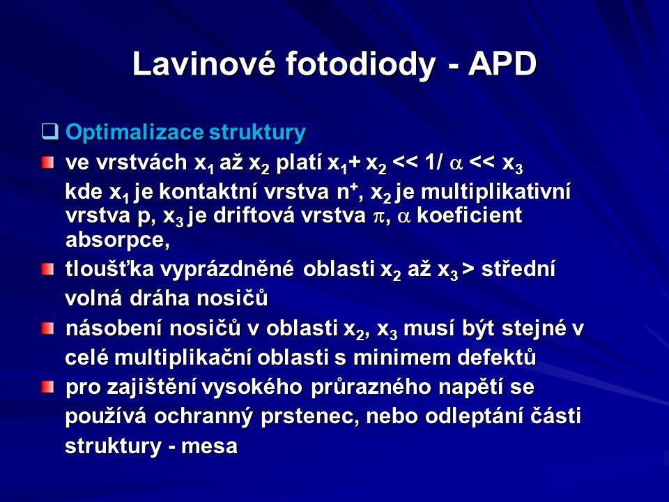 Lavinové fotodiody - APD  Optimalizace struktury ve vrstvách x 1 až x 2 platí x 1 + x 2 << 1/  << x 3 kde x 1 je kontaktní vrstva n +, x 2 je multi