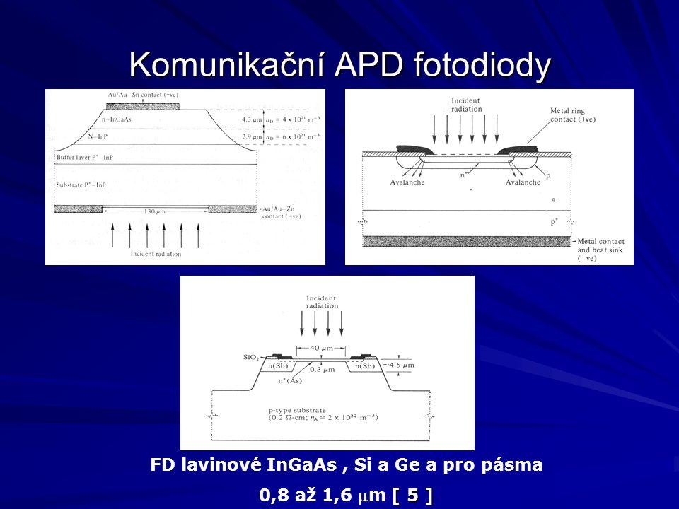 Komunikační APD fotodiody FD lavinové InGaAs, Si a Ge a pro pásma [ 5 ] 0,8 až 1,6 m [ 5 ]