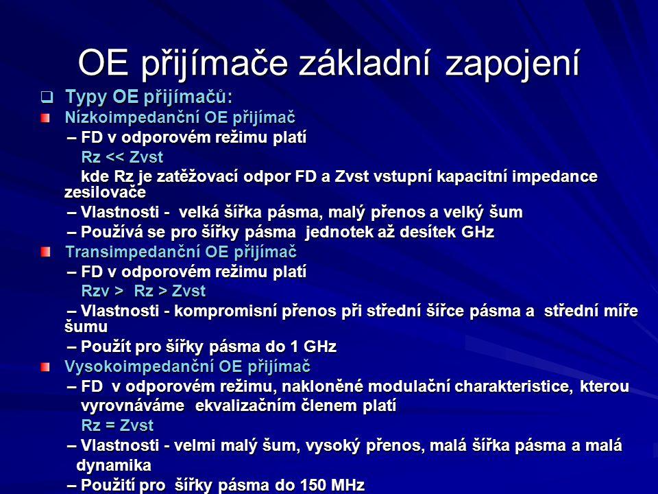 OE přijímače základní zapojení  Typy OE přijímačů: Nízkoimpedanční OE přijímač – FD v odporovém režimu platí – FD v odporovém režimu platí Rz << Zvst