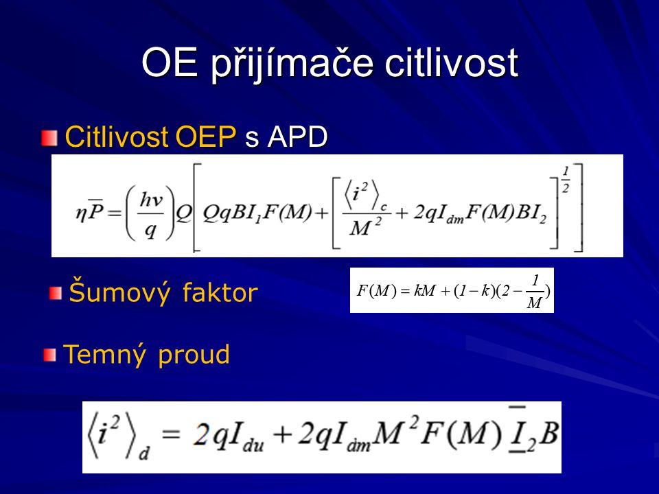 OE přijímače citlivost Citlivost OEP s APD Šumový faktor Temný proud
