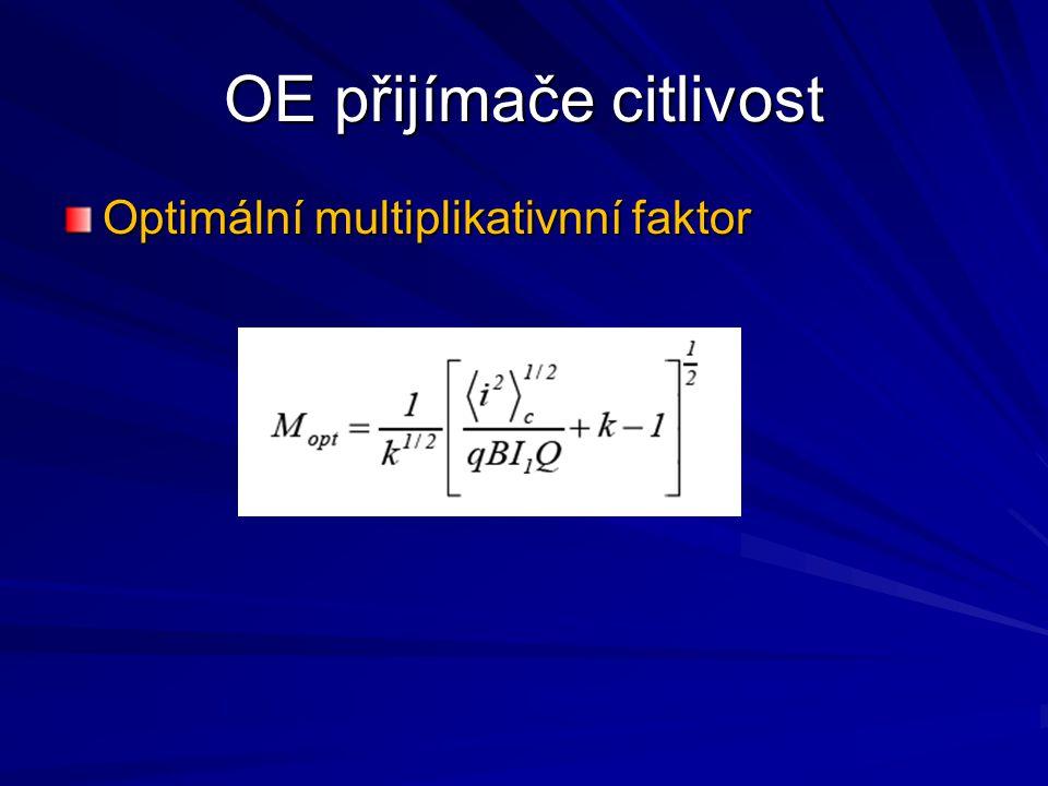 OE přijímače citlivost Optimální multiplikativnní faktor