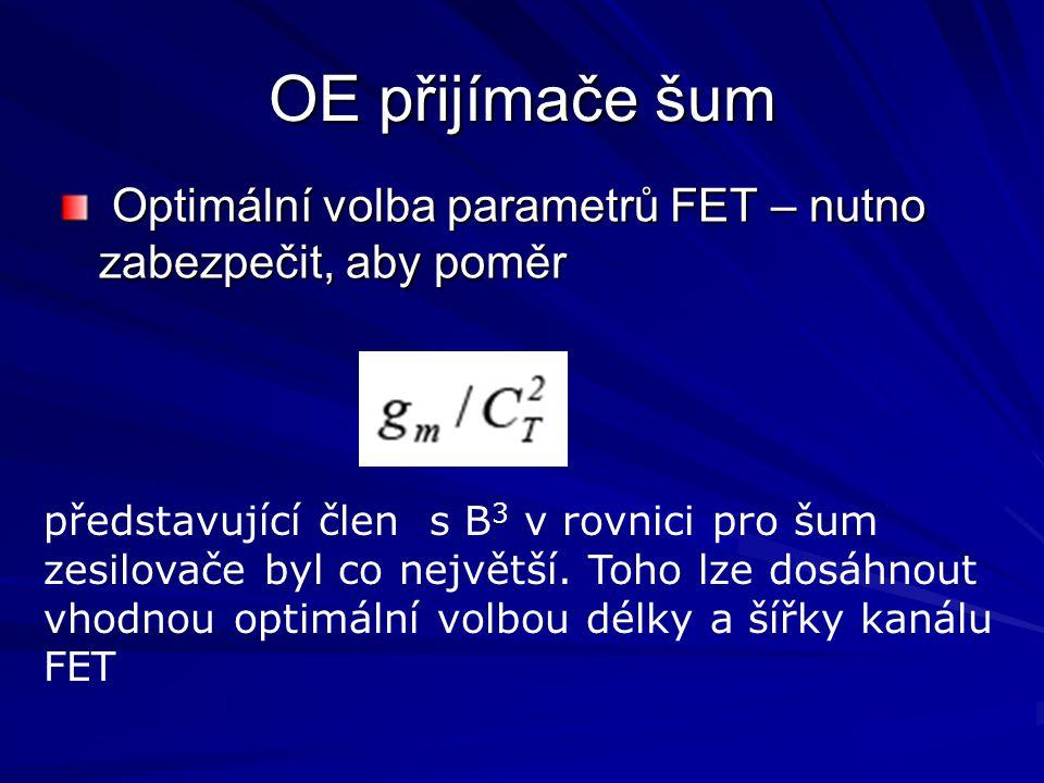 OE přijímače šum Optimální volba parametrů FET – nutno zabezpečit, aby poměr Optimální volba parametrů FET – nutno zabezpečit, aby poměr představující