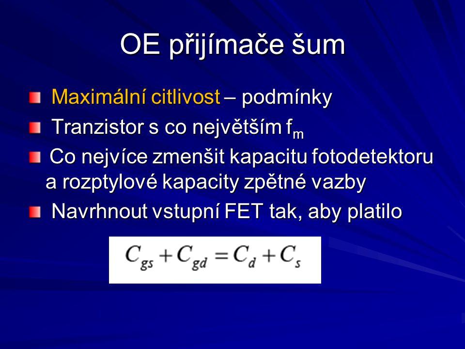 OE přijímače šum Maximální citlivost – podmínky Maximální citlivost – podmínky Tranzistor s co největším f m Tranzistor s co největším f m Co nejvíce