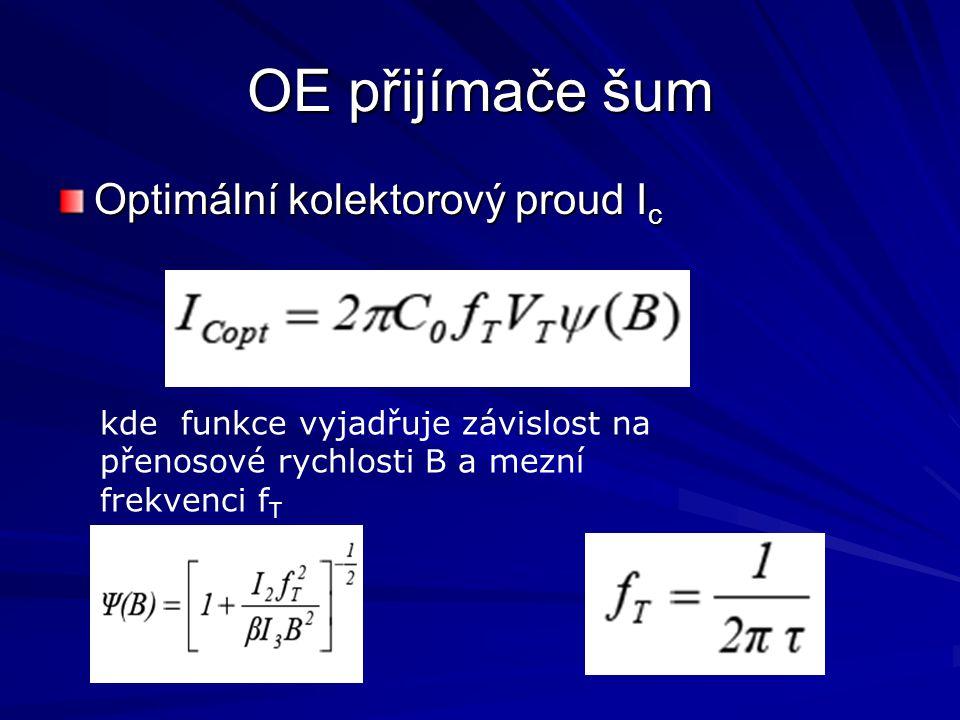 OE přijímače šum Optimální kolektorový proud I c kde funkce vyjadřuje závislost na přenosové rychlosti B a mezní frekvenci f T