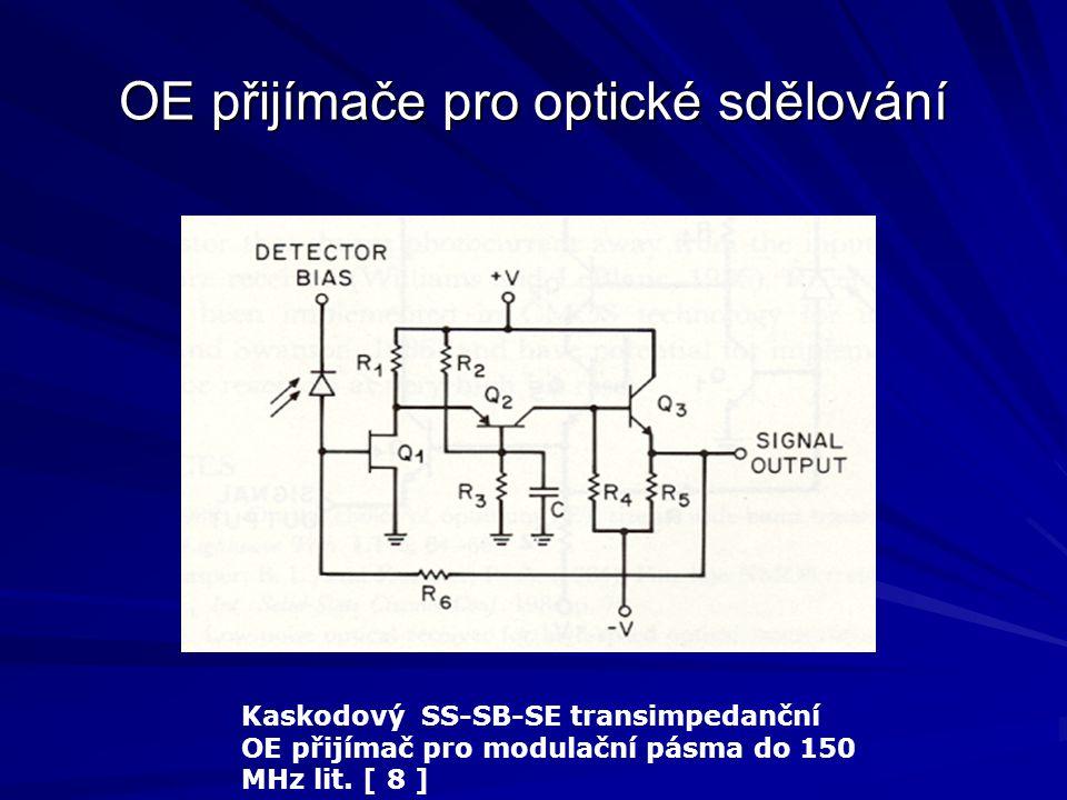 OE přijímače pro optické sdělování Kaskodový SS-SB-SE transimpedanční OE přijímač pro modulační pásma do 150 MHz lit. [ 8 ]