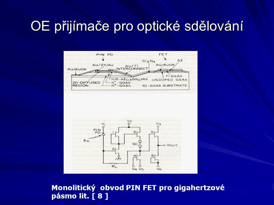OE přijímače pro optické sdělování Monolitický obvod PIN FET pro gigahertzové pásmo lit. [ 8 ]