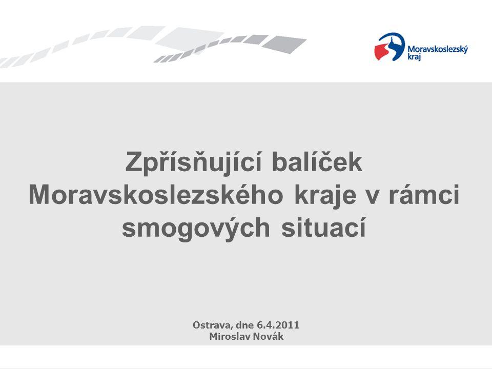 Zpřísňující balíček Moravskoslezského kraje v rámci smogových situací Ostrava, dne 6.4.2011 Miroslav Novák