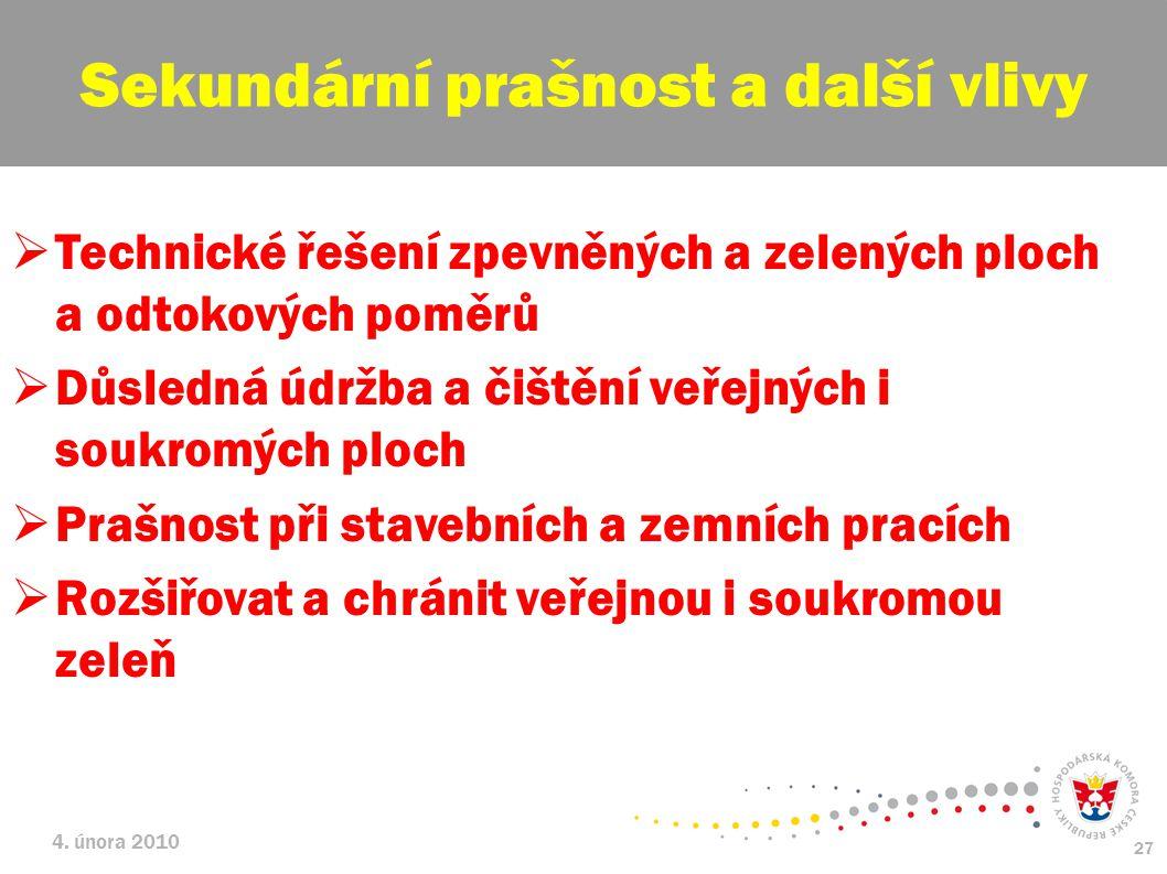 4. února 2010 27  Technické řešení zpevněných a zelených ploch a odtokových poměrů  Důsledná údržba a čištění veřejných i soukromých ploch  Prašnos