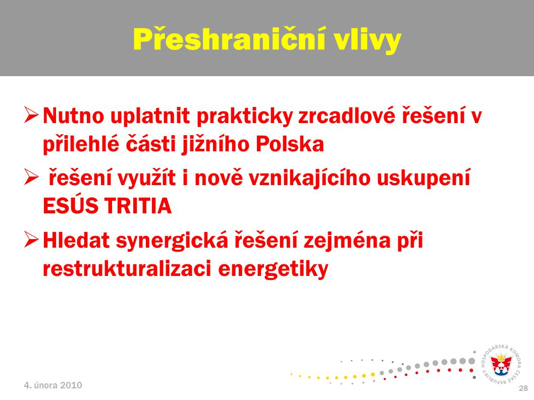 4. února 2010 28  Nutno uplatnit prakticky zrcadlové řešení v přilehlé části jižního Polska  řešení využít i nově vznikajícího uskupení ESÚS TRITIA