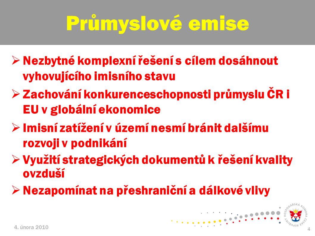 4. února 2010 4  Nezbytné komplexní řešení s cílem dosáhnout vyhovujícího imisního stavu  Zachování konkurenceschopnosti průmyslu ČR i EU v globální