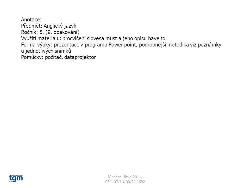 Jazyk a jazyková komunikace Cizí jazyk Slovní zásoba Must or have to VY_22_INOVACE_14 Sada 3 Základní škola T.