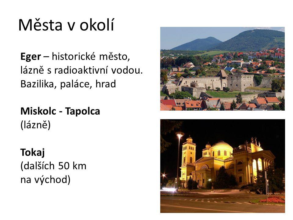 Města v okolí Eger – historické město, lázně s radioaktivní vodou. Bazilika, paláce, hrad Miskolc - Tapolca (lázně) Tokaj (dalších 50 km na východ)