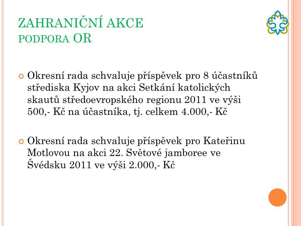 ZAHRANIČNÍ AKCE PODPORA OR Okresní rada schvaluje příspěvek pro 8 účastníků střediska Kyjov na akci Setkání katolických skautů středoevropského regionu 2011 ve výši 500,- Kč na účastníka, tj.