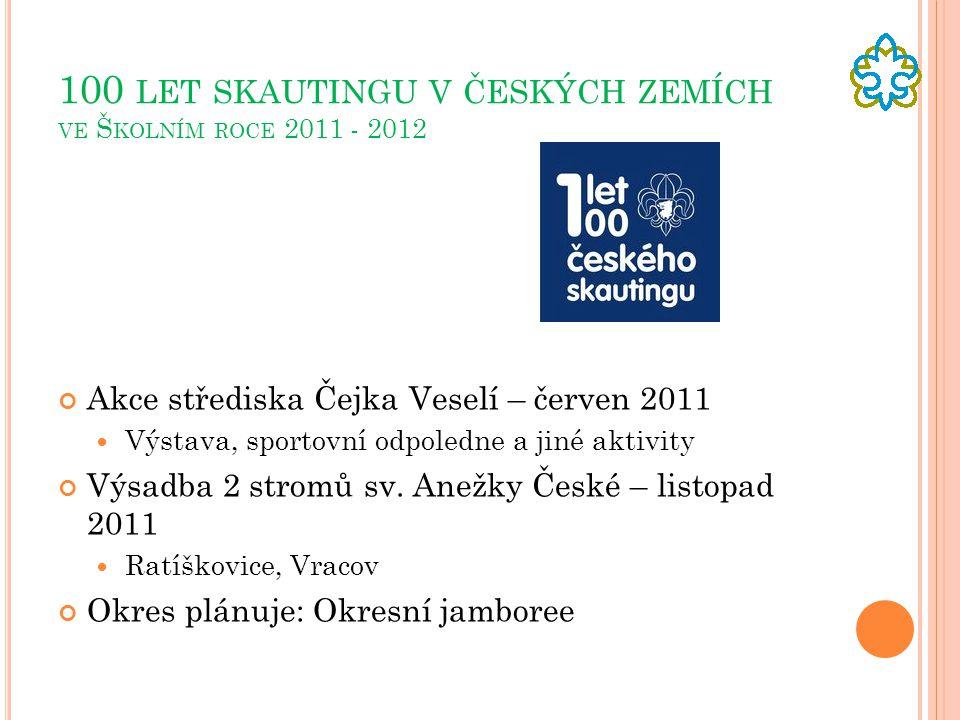 100 LET SKAUTINGU V ČESKÝCH ZEMÍCH VE Š KOLNÍM ROCE 2011 - 2012 Akce střediska Čejka Veselí – červen 2011 Výstava, sportovní odpoledne a jiné aktivity Výsadba 2 stromů sv.