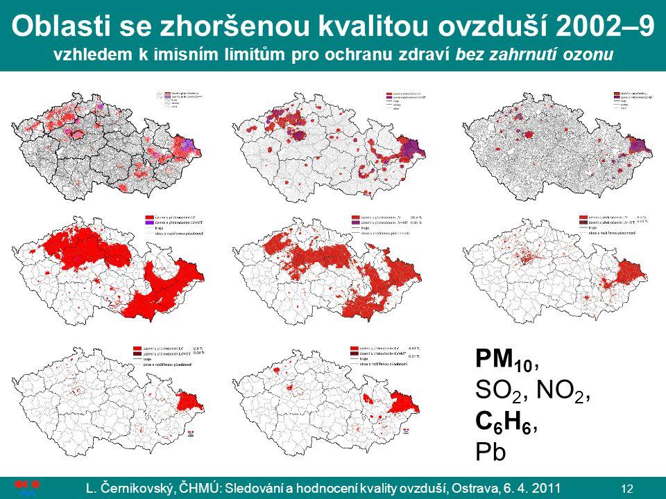L. Černikovský, ČHMÚ: Sledování a hodnocení kvality ovzduší, Ostrava, 6. 4. 2011 12 Oblasti se zhoršenou kvalitou ovzduší 2002–9 vzhledem k imisním li