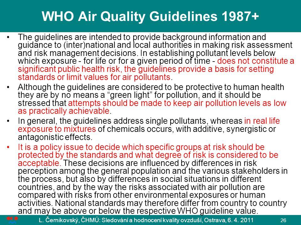 L. Černikovský, ČHMÚ: Sledování a hodnocení kvality ovzduší, Ostrava, 6. 4. 2011 26 WHO Air Quality Guidelines 1987+ The guidelines are intended to pr