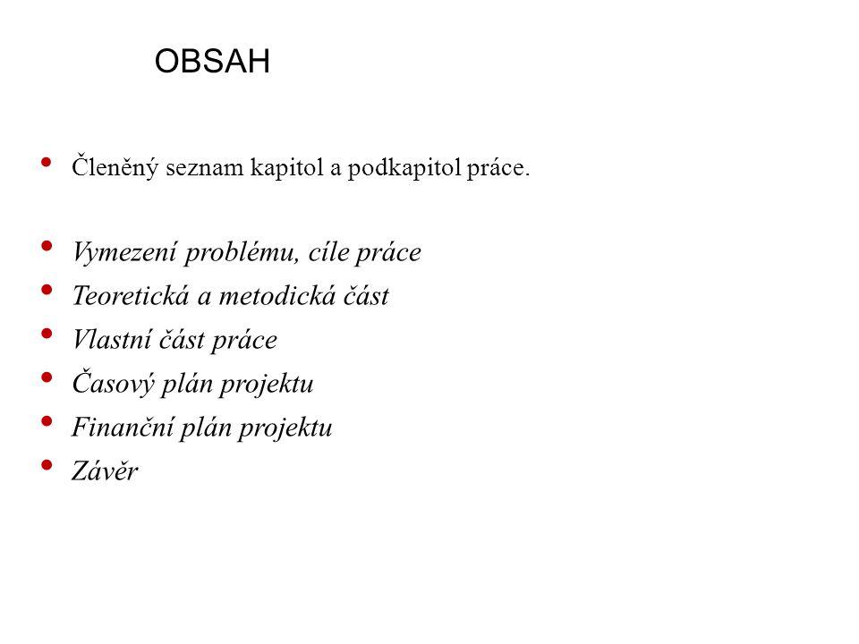 OBSAH Členěný seznam kapitol a podkapitol práce.