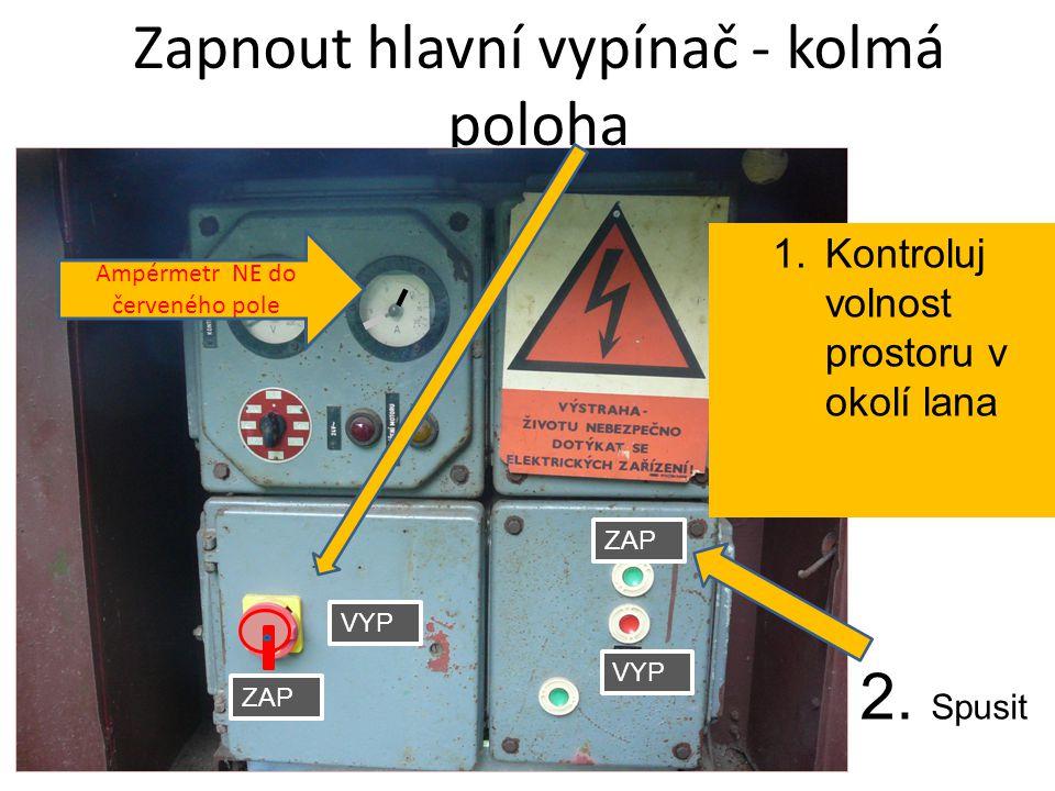 Zapnout hlavní vypínač - kolmá poloha ZAP VYP ZAP Ampérmetr NE do červeného pole 1.Kontroluj volnost prostoru v okolí lana 2.