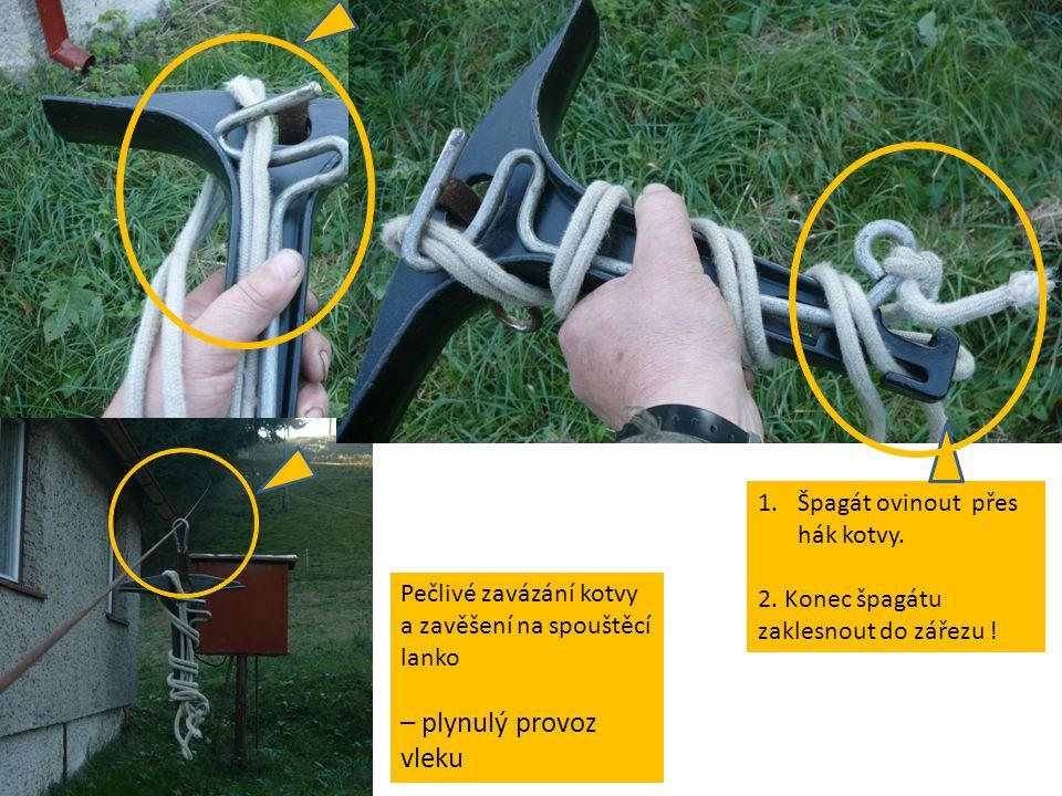 Pečlivé zavázání kotvy a zavěšení na spouštěcí lanko – plynulý provoz vleku 1.Špagát ovinout přes hák kotvy.