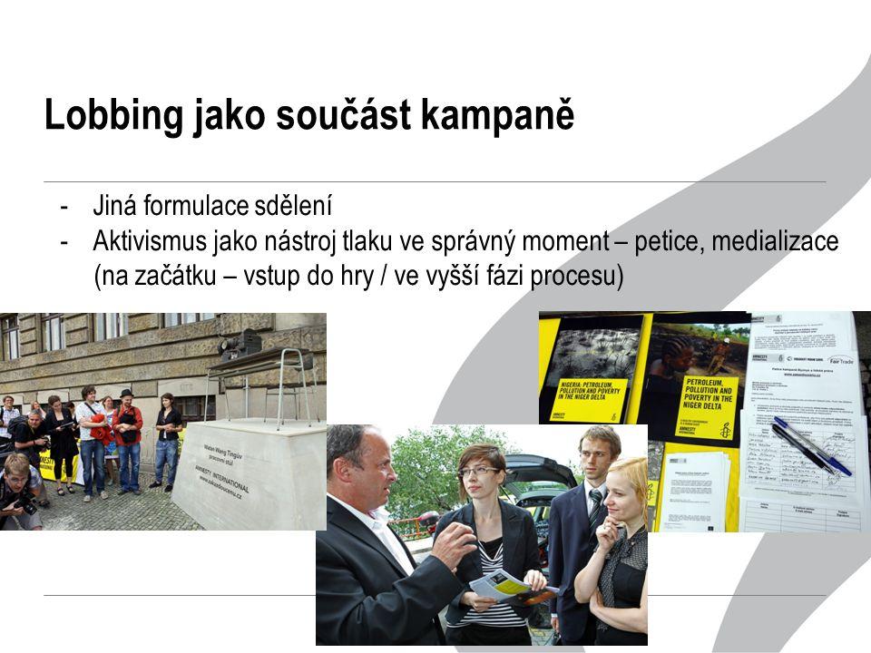 Lobbing jako součást kampaně -Jiná formulace sdělení -Aktivismus jako nástroj tlaku ve správný moment – petice, medializace (na začátku – vstup do hry / ve vyšší fázi procesu)