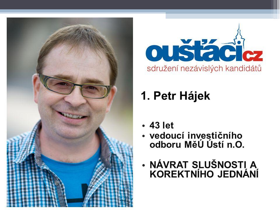 1. Petr Hájek 43 let vedoucí investičního odboru MěÚ Ústí n.O. NÁVRAT SLUŠNOSTI A KOREKTNÍHO JEDNÁNÍ