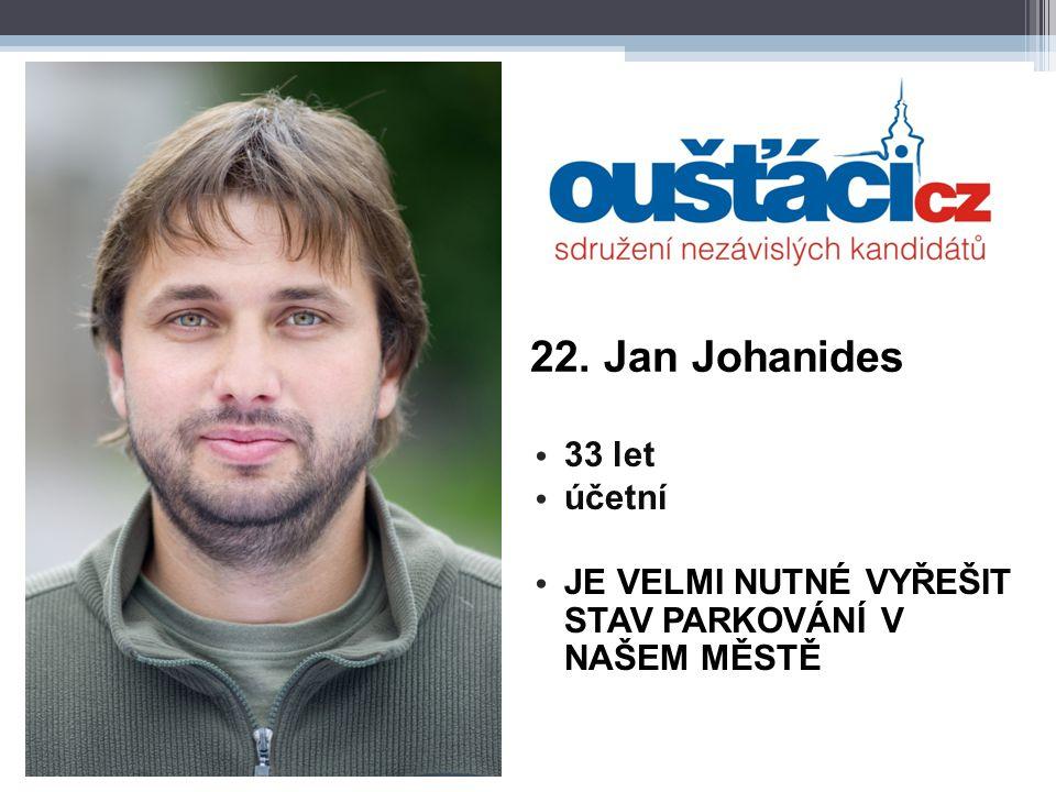 22. Jan Johanides 33 let účetní JE VELMI NUTNÉ VYŘEŠIT STAV PARKOVÁNÍ V NAŠEM MĚSTĚ
