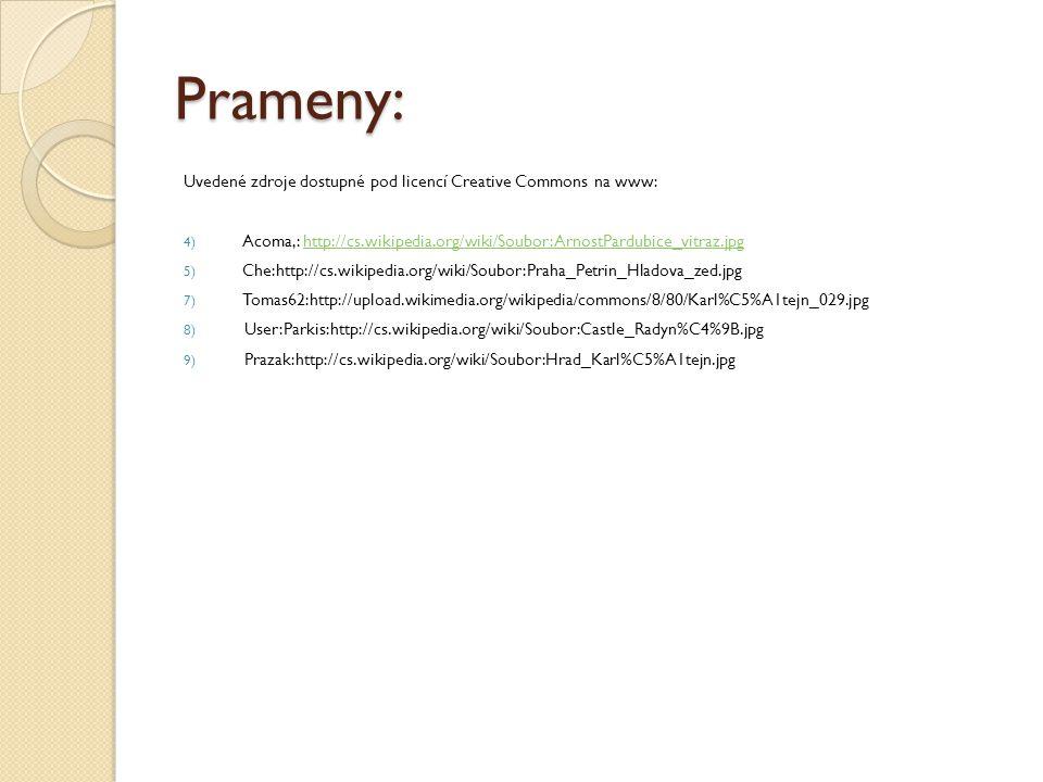 Prameny: Uvedené zdroje dostupné pod licencí Creative Commons na www: 4) Acoma,: http://cs.wikipedia.org/wiki/Soubor:ArnostPardubice_vitraz.jpghttp://