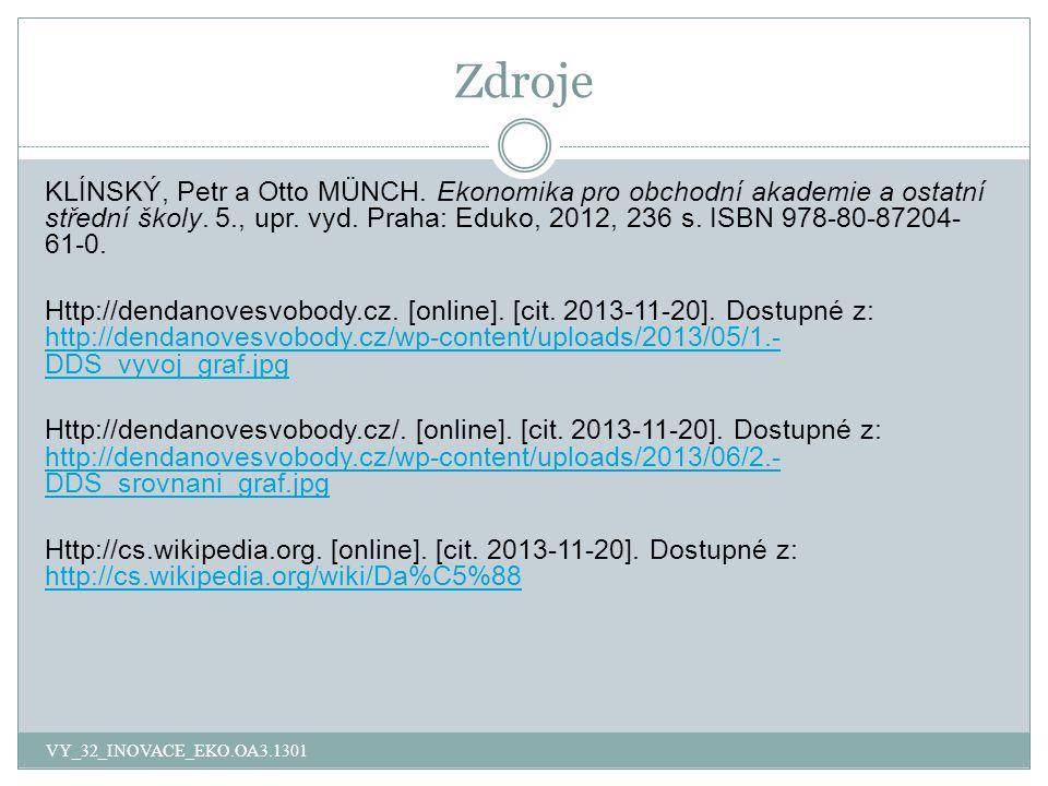 Zdroje VY_32_INOVACE_EKO.OA3.1301 KLÍNSKÝ, Petr a Otto MÜNCH.