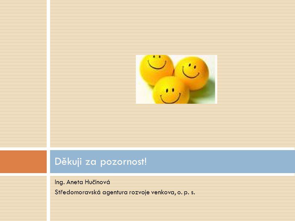 Ing. Aneta Hučínová Středomoravská agentura rozvoje venkova, o. p. s. Děkuji za pozornost!