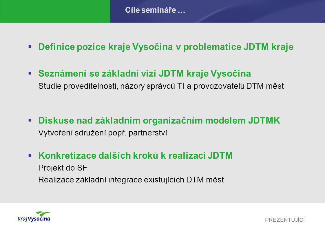 PREZENTUJÍCÍ Program semináře …  Představení výstupů Studie proveditelnosti JDTMK Základní analytický dokument definující problematiku jednotné technické mapy na území kraje Vysočina.