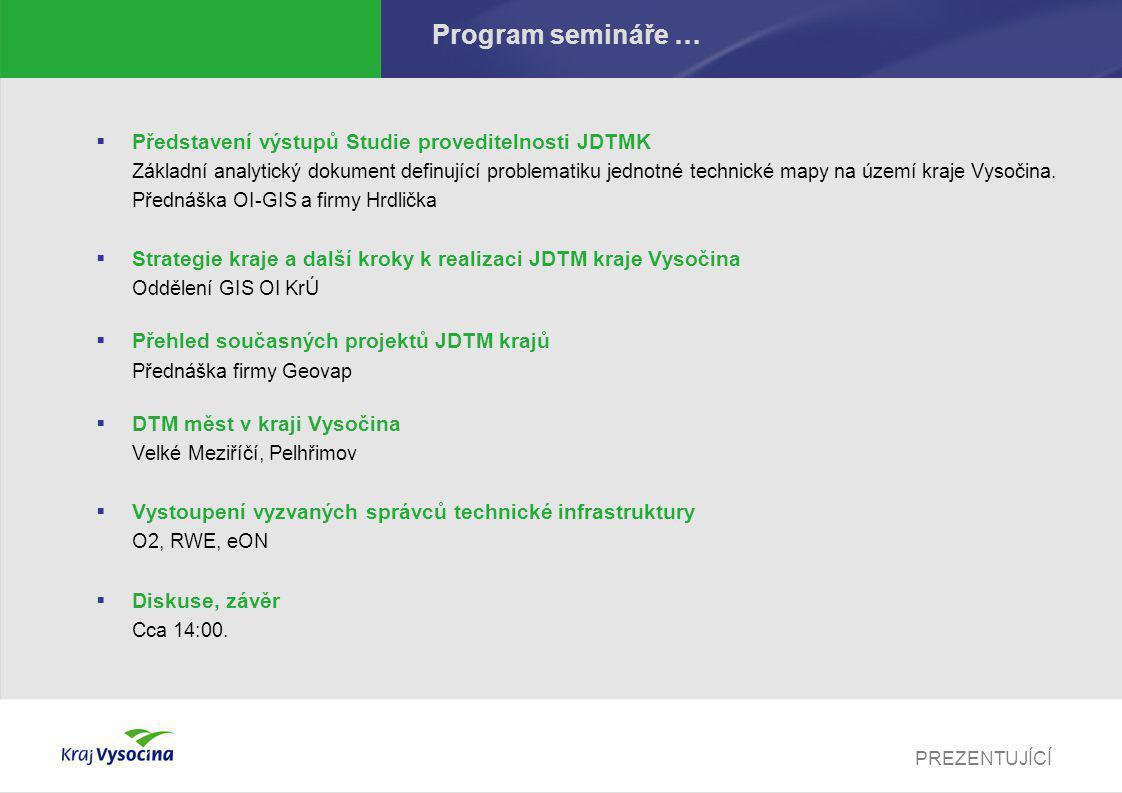 PREZENTUJÍCÍ Podklady Veškeré podklady najdete po ukončení semináře na adrese http://gis.kr-vysocina.cz