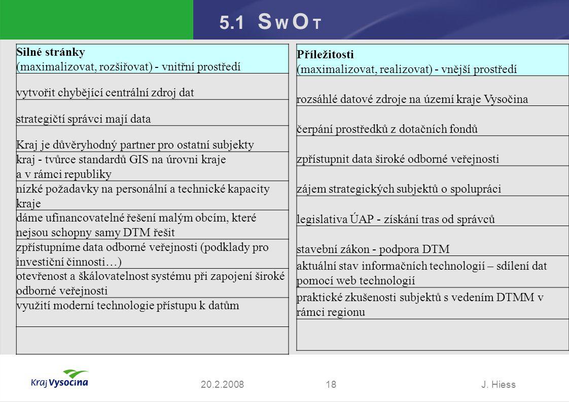 J. Hiess1820.2.2008 5.1 S W O T Silné stránky (maximalizovat, rozšiřovat) - vnitřní prostředí vytvořit chybějící centrální zdroj dat strategičtí správ