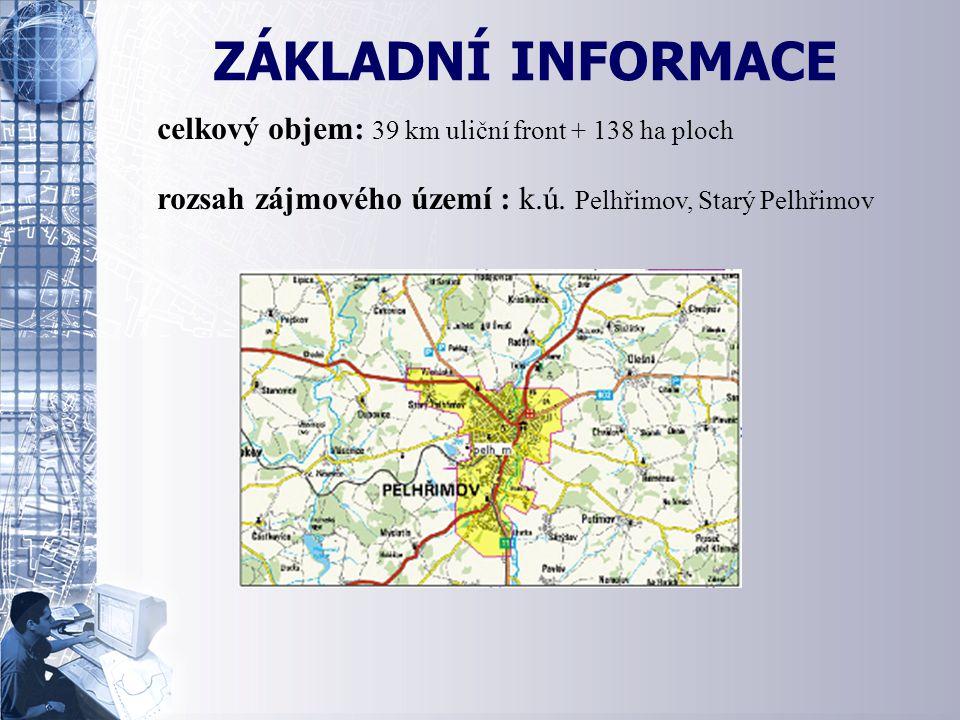 ZÁKLADNÍ INFORMACE celkový objem: 39 km uliční front + 138 ha ploch rozsah zájmového území : k.ú.