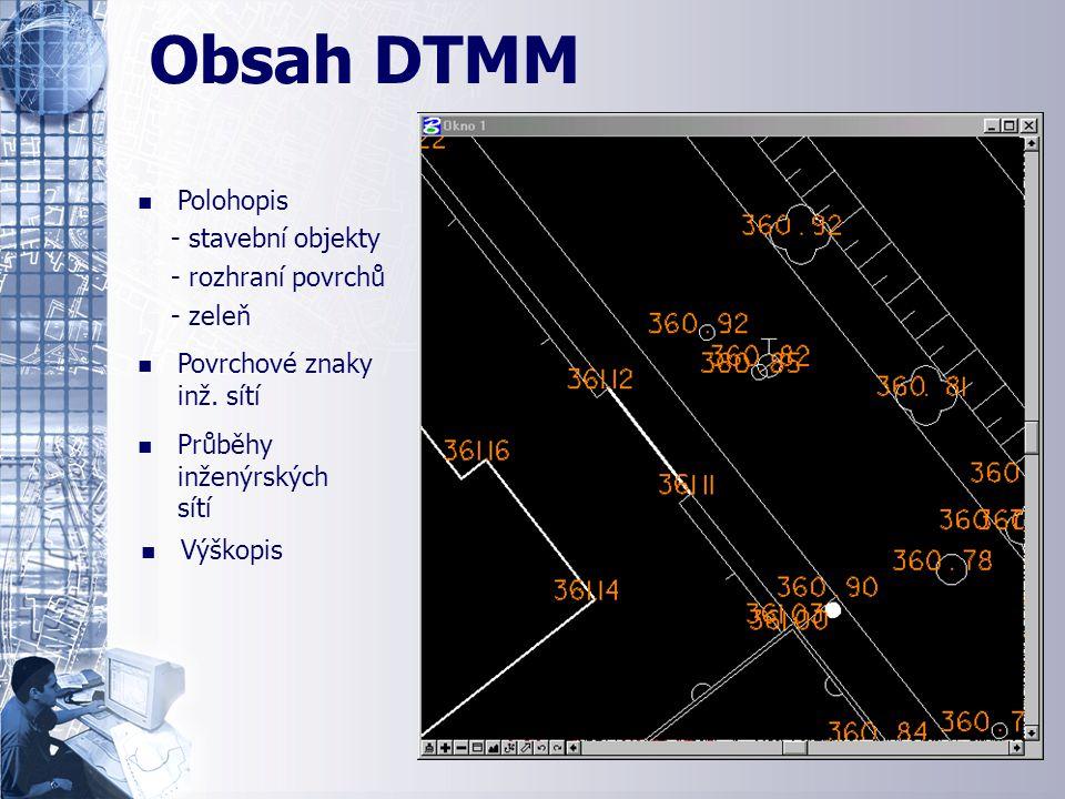 n n Polohopis - stavební objekty - rozhraní povrchů - zeleň Ukázka obsahu DTMM n n Povrchové znaky inž. sítí n n Průběhy inženýrských sítí n n Výškopi