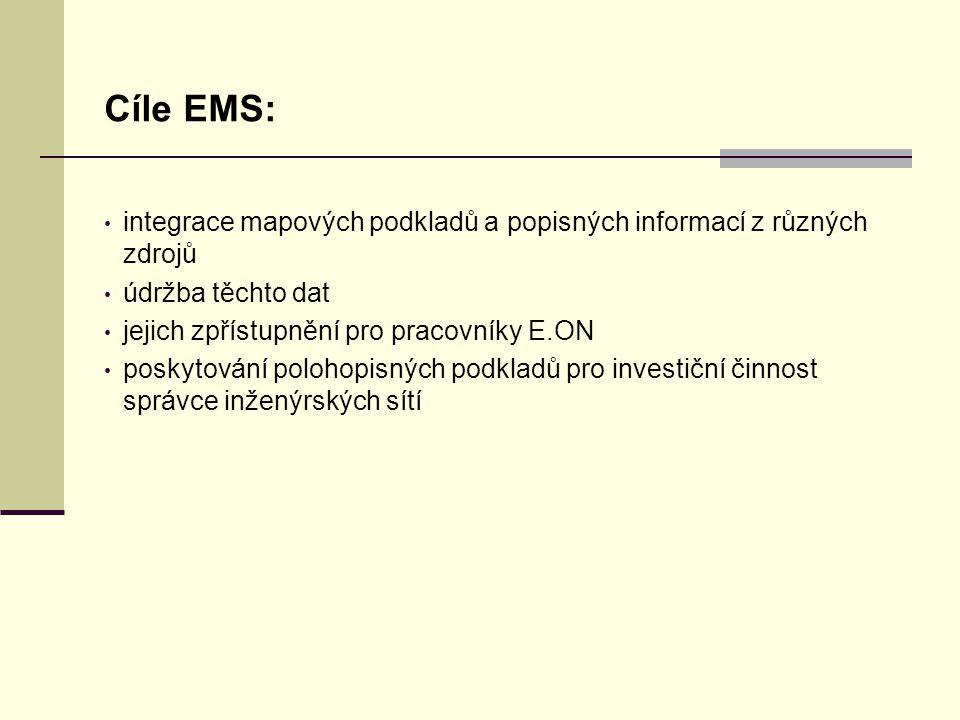 Úvodní stránka - partner v digitálním světě Cíle EMS: integrace mapových podkladů a popisných informací z různých zdrojů údržba těchto dat jejich zpřístupnění pro pracovníky E.ON poskytování polohopisných podkladů pro investiční činnost správce inženýrských sítí