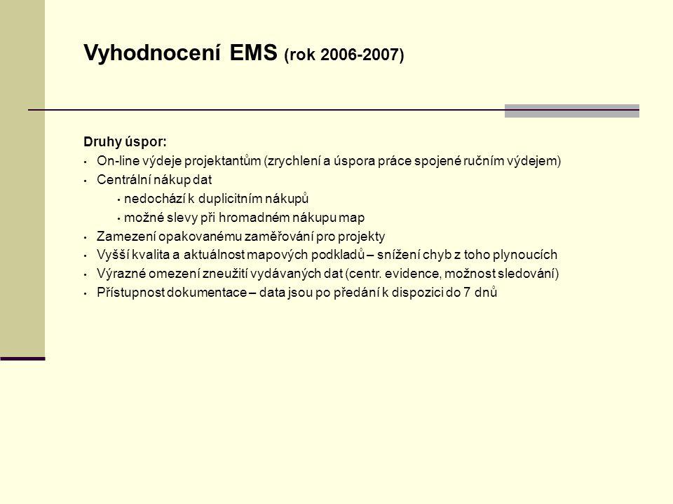 Úvodní stránka - partner v digitálním světě Vyhodnocení EMS (rok 2006-2007) Druhy úspor: On-line výdeje projektantům (zrychlení a úspora práce spojené ručním výdejem) Centrální nákup dat nedochází k duplicitním nákupů možné slevy při hromadném nákupu map Zamezení opakovanému zaměřování pro projekty Vyšší kvalita a aktuálnost mapových podkladů – snížení chyb z toho plynoucích Výrazné omezení zneužití vydávaných dat (centr.