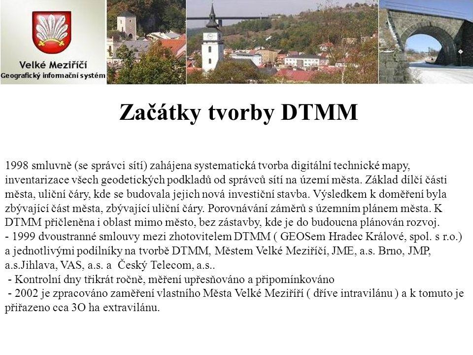 Začátky tvorby DTMM 1998 smluvně (se správci sítí) zahájena systematická tvorba digitální technické mapy, inventarizace všech geodetických podkladů od