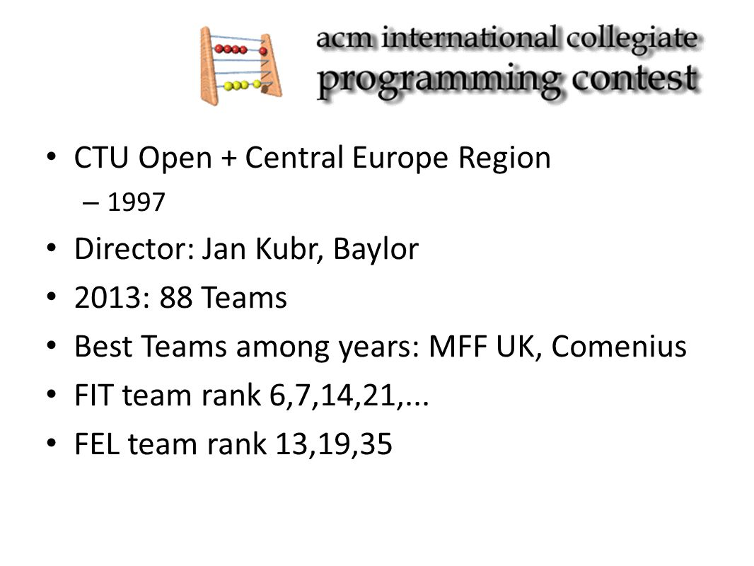 CTU Open + Central Europe Region – 1997 Director: Jan Kubr, Baylor 2013: 88 Teams Best Teams among years: MFF UK, Comenius FIT team rank 6,7,14,21,...