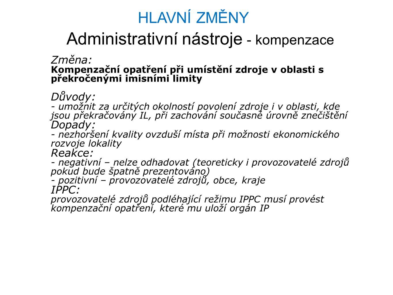 Administrativní nástroje - kompenzace Změna: Kompenzační opatření při umístění zdroje v oblasti s překročenými imisními limity Důvody: - umožnit za ur