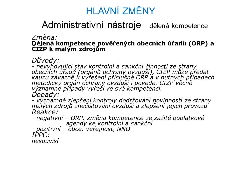 Administrativní nástroje – dělená kompetence Změna: Dělená kompetence pověřených obecních úřadů (ORP) a ČIŽP k malým zdrojům Důvody: - nevyhovující st