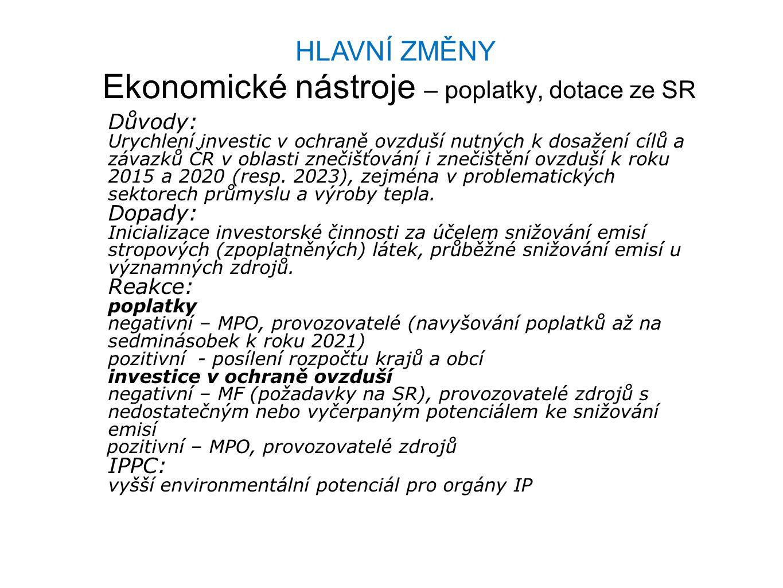HLAVNÍ ZMĚNY Ekonomické nástroje – poplatky, dotace ze SR Důvody: Urychlení investic v ochraně ovzduší nutných k dosažení cílů a závazků ČR v oblasti