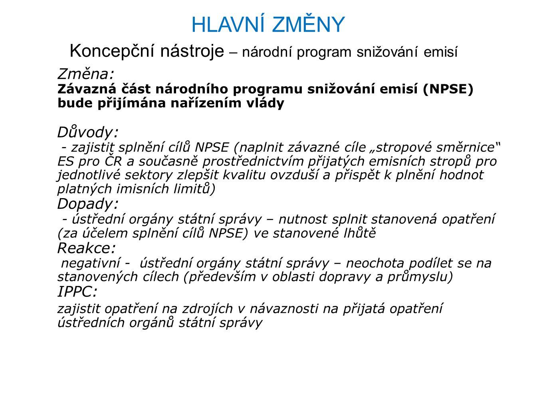"""Koncepční nástroje – národní program snižování emisí Změna: Závazná část národního programu snižování emisí (NPSE) bude přijímána nařízením vlády Důvody: - zajistit splnění cílů NPSE (naplnit závazné cíle """"stropové směrnice ES pro ČR a současně prostřednictvím přijatých emisních stropů pro jednotlivé sektory zlepšit kvalitu ovzduší a přispět k plnění hodnot platných imisních limitů) Dopady: - ústřední orgány státní správy – nutnost splnit stanovená opatření (za účelem splnění cílů NPSE) ve stanovené lhůtě Reakce: negativní - ústřední orgány státní správy – neochota podílet se na stanovených cílech (především v oblasti dopravy a průmyslu) IPPC: zajistit opatření na zdrojích v návaznosti na přijatá opatření ústředních orgánů státní správy HLAVNÍ ZMĚNY"""