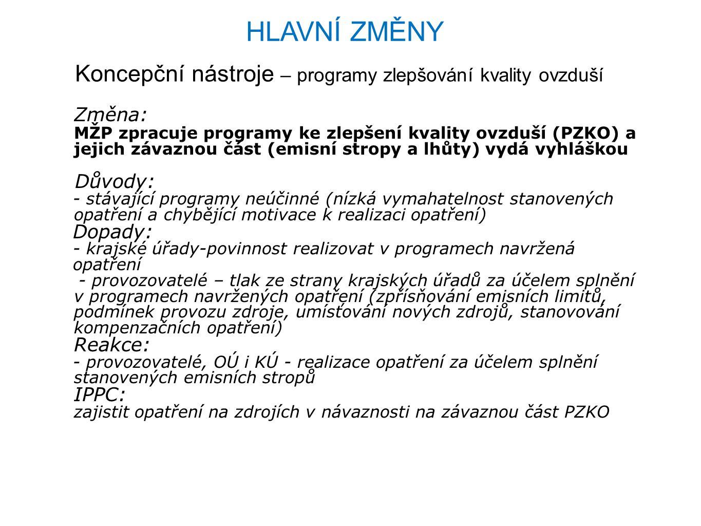 HLAVNÍ ZMĚNY Ekonomické nástroje – poplatky, dotace ze SR Důvody: Urychlení investic v ochraně ovzduší nutných k dosažení cílů a závazků ČR v oblasti znečišťování i znečištění ovzduší k roku 2015 a 2020 (resp.