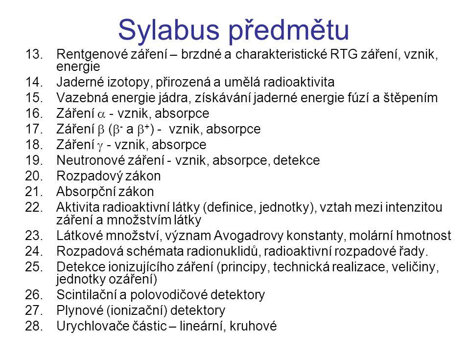 Sylabus předmětu 13.Rentgenové záření – brzdné a charakteristické RTG záření, vznik, energie 14.Jaderné izotopy, přirozená a umělá radioaktivita 15.Va
